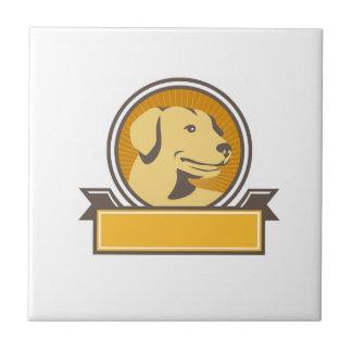 Yellow Labrador Golden Retriever Head Circle Retro Tile