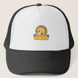 Yellow Labrador Golden Retriever Head Circle Retro Trucker Hat
