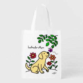Yellow Labrador & Green Reusable Grocery Bag