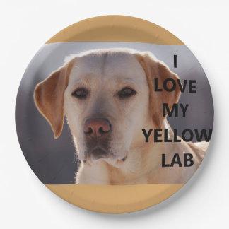 yellow labrador love w pic paper plate