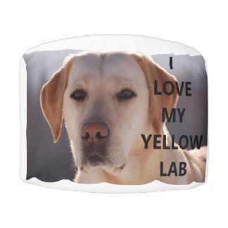 yellow labrador love w pic pouf