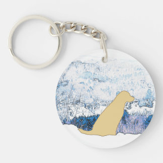 Yellow Labrador - Mountain Views Keychain