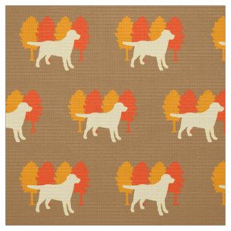 Yellow Labrador Outline Autumn Trees Toffee Fabric