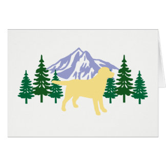 Yellow Labrador Outline Evergreen Trees Cards