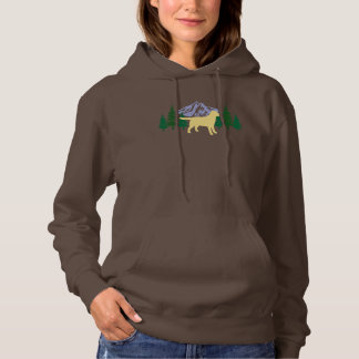 Yellow Labrador Outline Evergreen Trees Hoodie