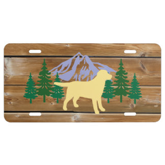 Yellow Labrador Outline Evergreen Trees license License Plate