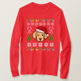 Yellow Labrador Puppy Christmas Pattern T-Shirt