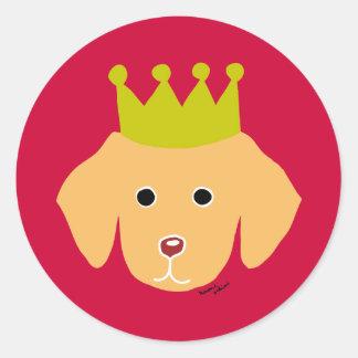 Yellow Labrador Puppy Crown Light Classic Round Sticker