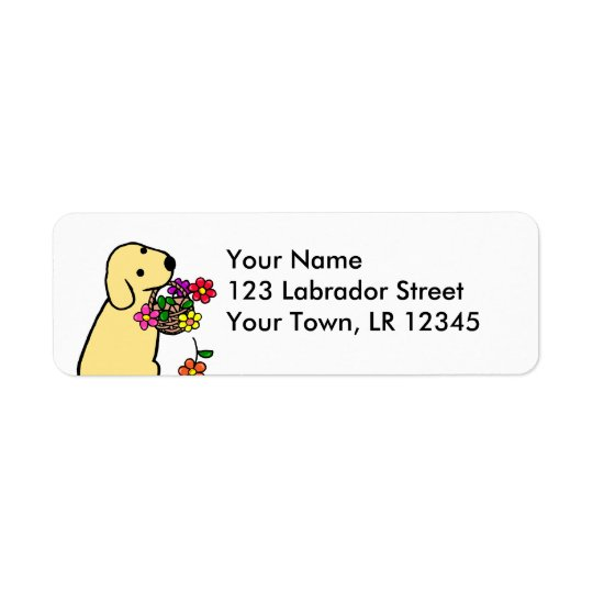 Yellow Labrador Puppy Flower Basket Cartoon Return Address Label
