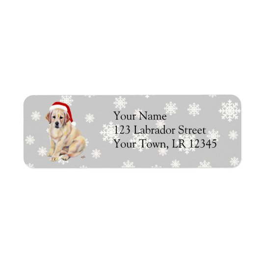 Yellow Labrador Puppy & Santa Hat Christmas