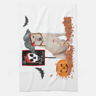 Yellow Labrador Retriever Halloween Kitchen Towel