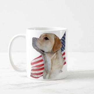 Yellow Labrador Retriever head and American Flag Coffee Mug