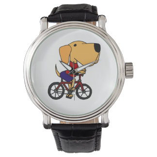 Yellow Labrador Retriever Riding Bicycle Watch
