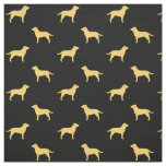 Yellow Labrador Retriever Silhouettes Pattern Fabric