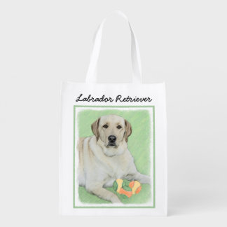Yellow Labrador Retriever & Tennis Balls Painting Reusable Grocery Bag