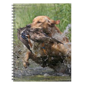 Yellow Labrador Retriever with duck Notebook