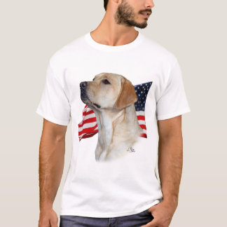 Yellow Labrador Retriever with Flag T-Shirt