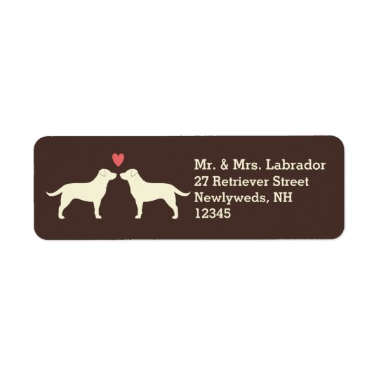 Yellow Labrador Retrievers with Heart Return Address Label