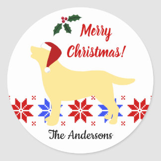 Yellow Labrador Silhouette Santa Christmas Classic Round Sticker
