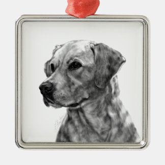 Yellow Labrador Silver-Colored Square Ornament