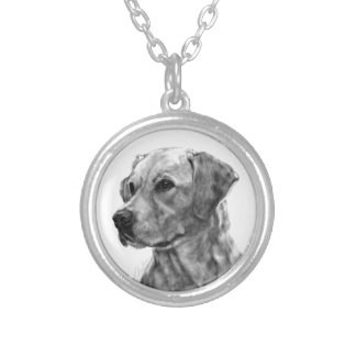 Yellow Labrador Silver Plated Necklace