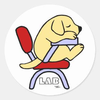 Yellow Labrador Student 2 Cartoon Classic Round Sticker