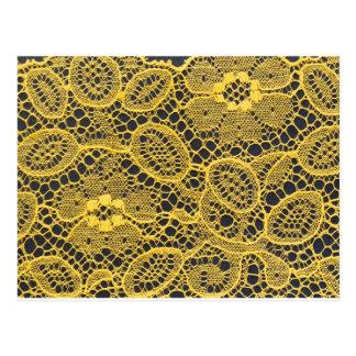 yellow lace background postcard