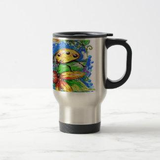 Yellow Lady Bug Design Travel Mug