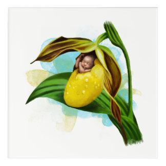 "Yellow Lady Slipper Acrylic Wall Art, 12"" x 12"" Acrylic Print"