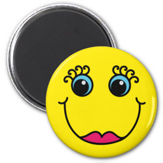 Yellow Lady Smiley Face 2 Inch Round Magnet