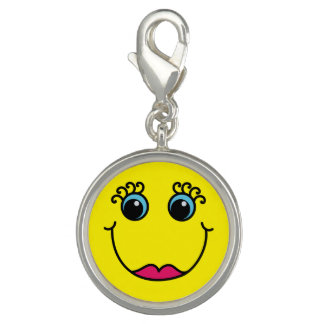 Yellow Lady Smiley Face Photo Charms