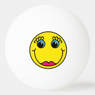Yellow Lady Smiley Face Ping Pong Ball