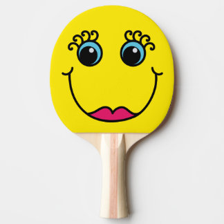 Yellow Lady Smiley Face Ping-Pong Paddle