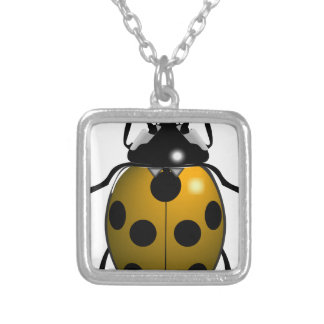 Yellow Ladybug Silver Plated Necklace