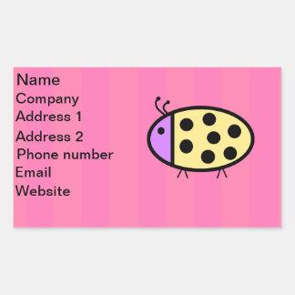 Yellow ladybug with pink stripes sticker