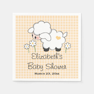 Yellow Lamb Gender Neutral Baby Shower Disposable Napkins