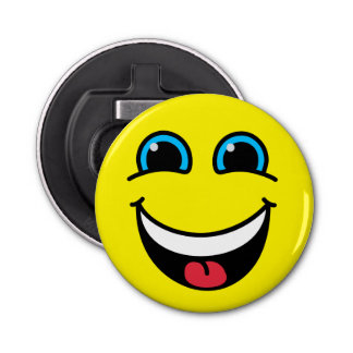 Yellow Laughing Smiley Face Button Bottle Opener