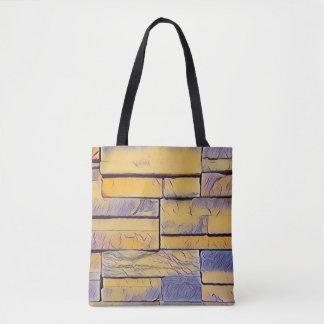 Yellow Lavender Funky Layers of Bricks Tote Bag