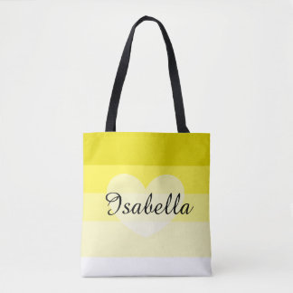Yellow Layers Personalized Name Tote Bag