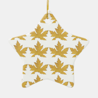 Yellow Leaf pattern Ceramic Ornament