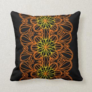 Yellow Leaves floral mandala Throw pillow