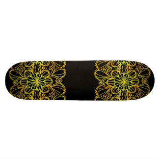 Yellow Leaves Mandala on Dark Board Skateboard Decks