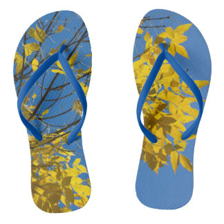 Yellow Leaves on Fall Tree Flip Flops