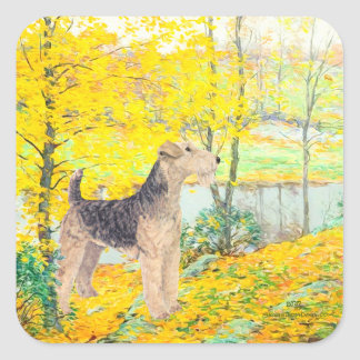Yellow Leaves Square Sticker