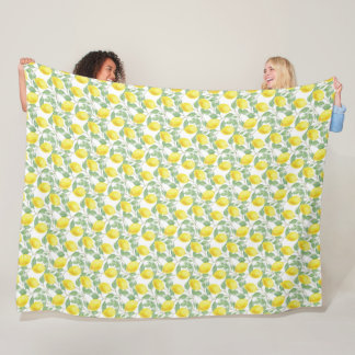 Yellow Lemon and Sage Green Vines Blanket