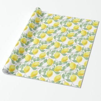 Yellow Lemon and Sage Green Vines Gift Wrap