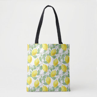 Yellow Lemon and Sage Green Vines Tote Bag
