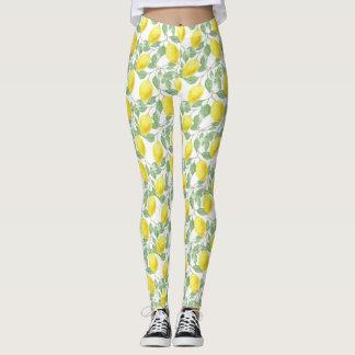 Yellow Lemon and Sage Green Vines Women's Leggings