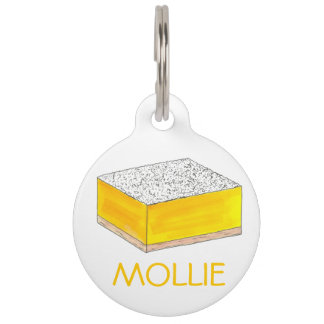 Yellow Lemon Bar Square Foodie Baked Goods Sweet Pet ID Tag
