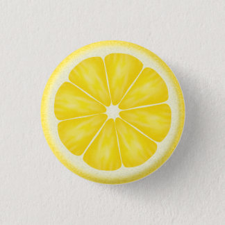 Yellow Lemon Citrus Fruit Slice 1 Inch Round Button